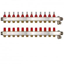 Колектор Danfoss SSM-F 12+12 з витратомірами, нержавіюча сталь (088U0762)