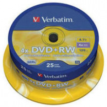 Диск Verbatim DVD+RW 4.7 GB/120 min 4x Cake Box 25шт (43489)