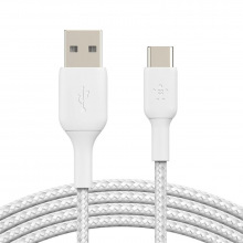 Кабель Belkin USB-A - USB-С, BRAIDED, 2m, white (CAB002BT2MWH)