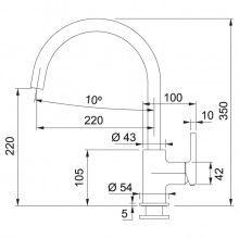 Змішувач Franke Lina /115.0626.022/з поворотним виливом/ одноричажний/ фраграніт/сірий камінь (115.0626.022)