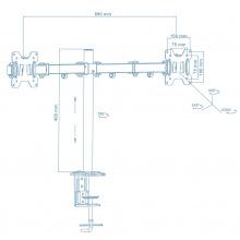Кронштейн Walfix DM-400B (для 2-х моніторів) (DM-400B)