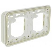 Супорт Plexo Legrand с рамкой для встроенного монтажа 2 пост, горизонтальная установка, белый (069694)