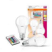 Лампа світлодіодна OSRAM LED A60 9W 806Lm 2700К+RGB E27 пульт ДУ*2 (4058075430891)