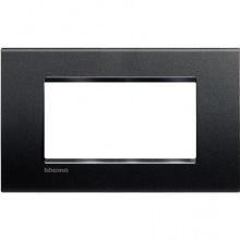 Рамка Bticino LivingLight прямоугольная, 4 модуля, цвет Антрацит (LNA4804AR)