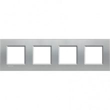 Рамка Bticino LivingLight прямоугольная, 4 поста, цвет алюминий (LNA4802M4TE)