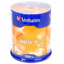 Диск Verbatim DVD-R 4.7 GB/120 min 16x Cake Box 100шт (43549) Matt Silver