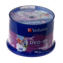 Диск Verbatim DVD+R Verbatim 4.7 GB/120 min 16x Cake Box 50шт (43512) Printable