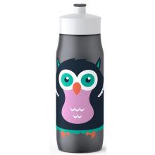 Детская бутылка для питья Tefal 0,6 л, серая, декор Сова (K3201112)