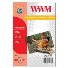 Фотобумага WWM глянцевая 180Г/м кв, 10х15см, 100л (G180.F100)