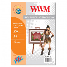 "Фотопапір WWM глянцевий ""Шкіра"" 200Г/м кв, А4, 10л (GL200.10)"
