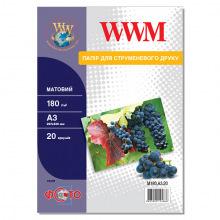 Фотобумага WWM матовая 180Г/м кв, А3, 20л (M180.А3.20)