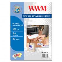 Фотобумага WWM матовая самоклеящаяся 100Г/м кв, А4, 20л (SA100M.20)