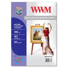 """Фотобумага WWM Матовая """"Ткань"""" 190Г/м кв, А3, 20л (MC190.А3.20)"""
