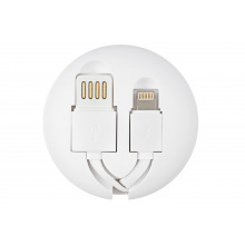 Кабель Remax Roller type Retractable 2in1 for MicroUSB and Lightning 1M, white (RC-099T-WHITE)
