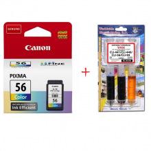 Картридж Canon CL-56 + Заправочный набор С45 С/M/Y (Set56-inkC)