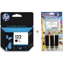 Картридж HP 122 Black + Заправочный набор WWM H30/BP (Set122B-inkHP)