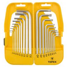 Ключи TOPEX шестигранные HEX i Torx, набор 18 шт.,  удлиненные (35D953)