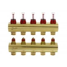 Коллектор Danfoss FHF 5 + 5 з ротаметрами, латунный (088U0525)