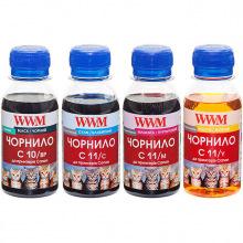Комплект чернил WWM C10/11 BP/C/M/Y для Canon 4х100г (C10/11SET4-2) пигментные/водорастворимые