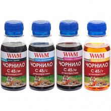 Комплект чорнила WWM C45 BP/C/M/Y для Canon 4х100г (C45SET-4) пігментне/водорозчинне