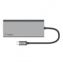 Концентратор BELKIN USB-C PD, Travel Hub, USB-C, 2/USB 3.0, HDMI,Gigabit, SPACE GRAY (F4U092BTSGY)