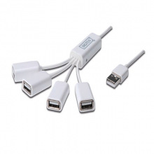 """USB-Концентратор DIGITUS  4 порта, """"Паук"""" , USB 2.0, пассивный, White (DA-70216)"""