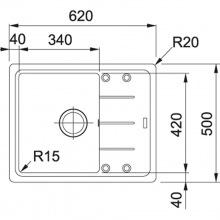 Кухонні мийки Franke BASIS BFG 611-62 Фраграніт/620х500х200/Словаччина/Онікс (114.0272.580)