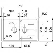 Кухонна мийка Franke BASIS BFG 651-78 Фраграніт/780х500х200/Словаччина/Онікс (114.0272.603)