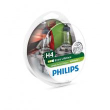 Лампа галогенная Philips H4 LongLife EcoVision, 2шт/блистер (12342LLECOS2)