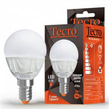 Лампа светодиодная Tecro E14, 5Вт, 4000K, аналог лампы накаливания 50Вт (PRO-G45-5W-4K-E14)