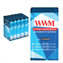Лента красящая WWM 13мм х 12м STD кольцо Refill Black (R13.12S5) 5шт