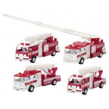 Машинка металлическая goki Пожарная машина Бочка с лесницей белая  (12115G-3)