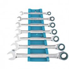 Набір ключів комбінованих з тріскачкою, 8 - 19 мм, 7  шт, CrV,  GROSS (MIRI14890)