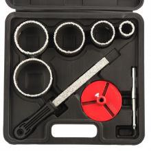 Набір коронок по керамічній плитці 33-53-67-73-83 мм + напилок, в пластиковому боксі, 6-гранний хвостовик, MTX (MIRI728429)