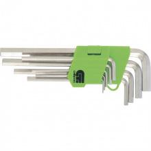 Набір коротких ключів імбусових HEX 1.5-10 мм, нікель, 45x, загартовані, 9 шт, Сибртех (MIRI12317)