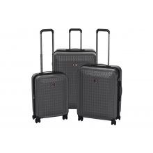 """Набір пластикових валіз, Wenger Matrix Set, (20""""/24""""/28""""), 4 колеса, сірий (604351)"""