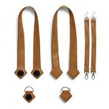 Набор (ручки, фиксаторы, ремни на коляску) эко-кожа MyMia NU-PGBG0020-8803 коричневый (NV8803CAMEL)