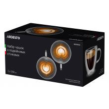 Набор чашек с ручками Ardesto с двойными стенками для латте, 250 мл, 2 ед., боросиликатное стекло (AR2625GHL)