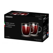 Набор чашек Ardesto с ручками с двойными стенками для латте, 400 мл, 2 ед., боросиликатное стекло (AR2640GH)