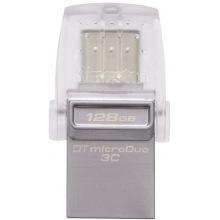 Флешка USB Kingston 128GB USB 3.1+Type-C DT Micro Metal Silver (DTDUO3C/128GB)