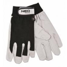 """Перчатки Neo рабочие, лицевая свиная кожа, на липучке, размер 8 """", CE (97-604)"""