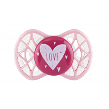 "Пустышка симетричная Nuvita NV7065 Air55 Cool 0m+ ""LOVE"" рожево-персиковая (NV7065PR)"