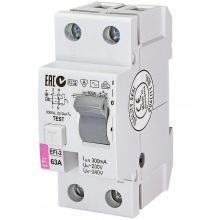 Реле дифференциальное ETI (УЗО) EFI-2 63/0,3 тип AC (10kA) (2064124)