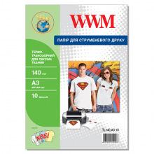 Термотрансферний Папір WWM для світлих тканин 140Г/м кв, А3, 10л (TL140.А3.10)