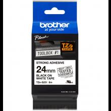 Термо-лента Brother 24mm суперклейкая, черный на белом (TZES251)