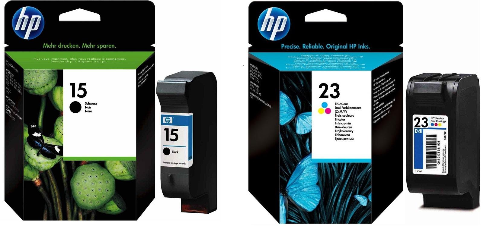 Картриджи hp 15 hp 23 для HP Deskjet 810c. Купить комплект оригинальных чернил.